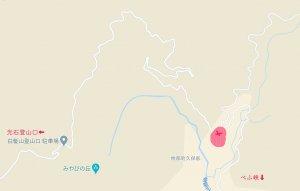 ジル沢登山口ゲートまでの地図