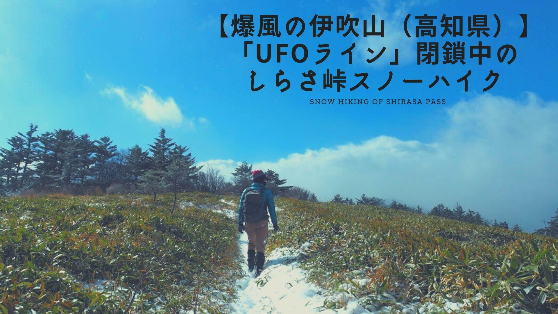 【爆風の伊吹山(高知県)】UFOライン閉鎖中のしらさ峠スノーハイク